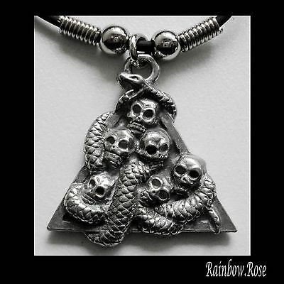 Choker #17 Pewter SKULLS SNAKE TRIANGLE (35mm x 30mm) Rubber Silicon Necklace