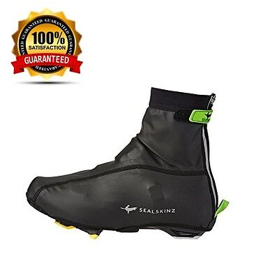 SealSkinz Lightweight Cycle / Cycling / Road / Bike Overshoes - Black/Green