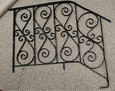 Wrought Iron Railing Ornate Black Victorian Vintage 1910's Swirls Fence Gate