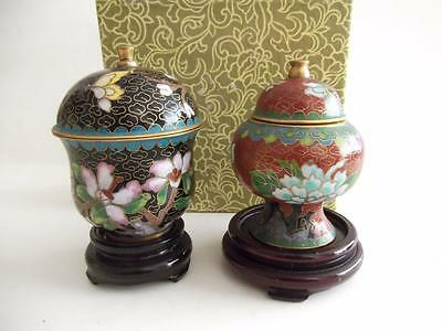 2 x HAND MADE CLOISONNE VASES - boxed