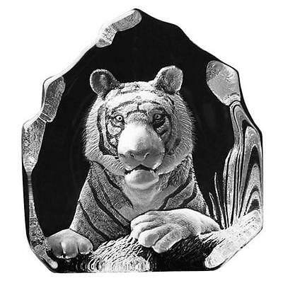 Bengal Tiger Hand-Etched - Swedish Crystal Sculpture By Mats Jonasson (18463)