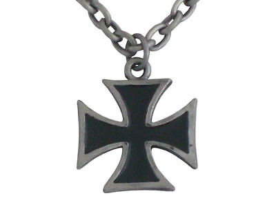 Black Maltese Cross Necklace Brand New