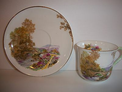 "Shelley Fine Bone China England ""Heather"" Teacup & Saucer Set"