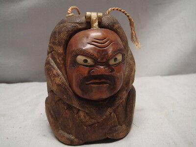 Old Japanese Carved Wood Sash Figural Ornament Container