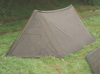 Army Pup Tent, Complete: 2 Shelter Halves, 6 Pole Sections, 10 Stakes, 2 Ropes