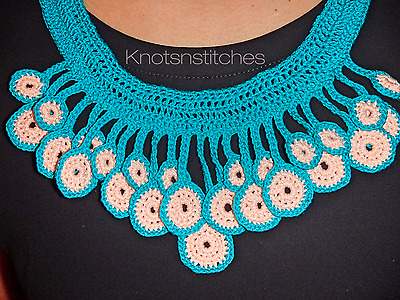 Hanging Circle Crochet Necklace, Indian inspired design