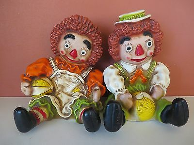 1971 Raggedy Ann and Andy Shelf Sitter Set by Universal Statuary Corp. Chicago