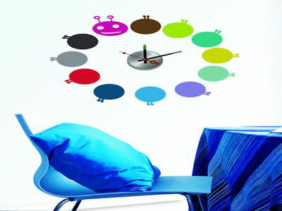 Colourful Aliens Stick on Wall Clock Brand New