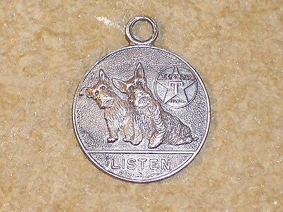 "Vintage 1930s Texaco Scotties Dogs Listen Medallion Charm Fob 1"" Dia."