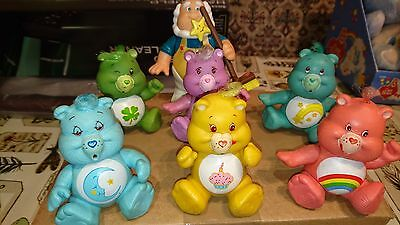 """Set of 7 Vintage Care Bear Poseable Figures 3"""" by Kenner inc Share Bear"""