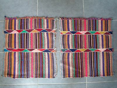 2 Vintage Aztec Indian Tribal Woven Cloth Rugs Mats Tapestries Textiles