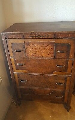 Art Deco Vintage 4 Pc Bedroom Set Full Size Head/Foot board.