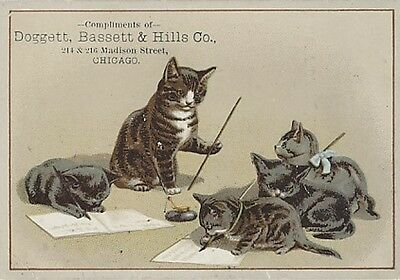 "Victorian Trade Card - Kittens Learning How to Write - Cat is the ""Teacher"""