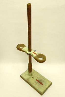 Vintage Wooden Laboratory Stand Double Funnel Holder