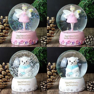 Birthday Personalised Name Boys Girls Snow Globe Pink Fairy Blue Polar Bear Gift