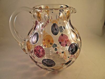Vintage Glass Pitcher with Flashed Dots / Spots