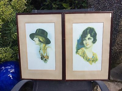 A lovely pair of original Art Deco signed prints of ladies