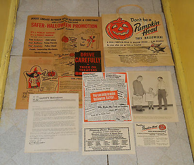vintage HALLOWEEN TRICK OR TREAT BAG & SAFETY CAMPAIGN MATERIAL