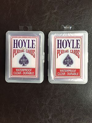 Lot Of 2 Hoyle Clear Deck Playing Cards 100% Plastic Water Proof and Durable