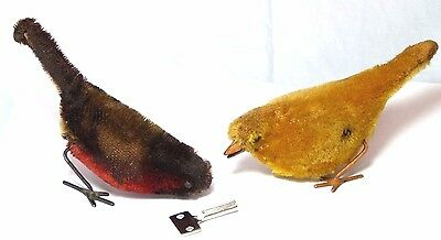 2 Rare Old Antique Schuco Plush Covered Robin & Canary Wind-Up Toys For Repair