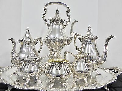 MAGNIFICENT! Wallace Baroque COMPLETE 8 Piece Coffee/Tea Service w/butler tray