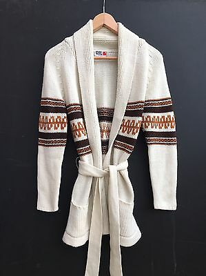 Vintage 70s Chelsea Girl Cream Chunky Knit Folk Cowichan Belted Cardigan 8 10