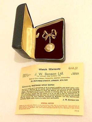 Fantastic Vintage 9ct Gold JW Benson Bow Brooch & Nurse's Fob Watch Box & Papers
