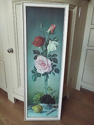 Vintage 50's / 60's floral print in frame by James Noble  75cm x 25cm