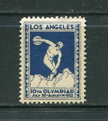Olympic games U.S.1932 Los Angels poster stamp blue and white  OG MNH
