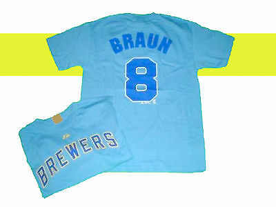 Milwaukee Brewers Ryan Braun Player Name & Number #8 Majestic Jersey Shirt