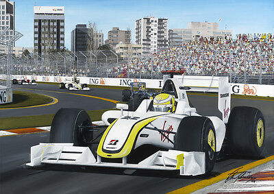 Jenson Button 2009 Australian Grand Prix Hand Signed Limited Edition F1 Print
