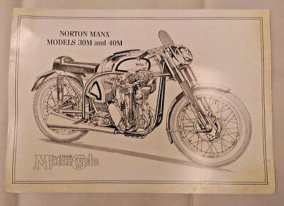 Norton Manx Models 30M & 40M - The Classic MotorCycle - B&W Print Poster Drawing