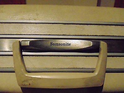 "Vintage Samsonite Silhouette Luggage Suitcase Off-White Eggshell 20""W 16""H"