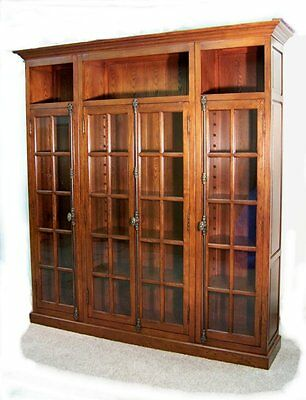 Oak Bookcase / Four Door Cabinet  **wow**  Free Shipping
