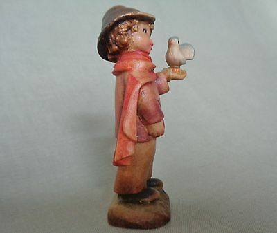 """Anri 3"""" Small Talk"""" Figurine of a Boy and a Bird Hand carved in Italy"""