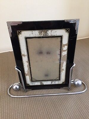Vintage Art Deco Painted Glass Picture Frame With Chrome Stand