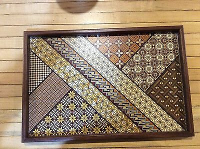 Stunning Multi-color Yosegi-zaiku  Craftsman Wood Inlay Serving Tray Platter