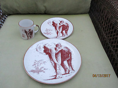 San Diego Zoo Park Elephant Coffee/Tea Mug plate Made In Japan Mike Schnorr set