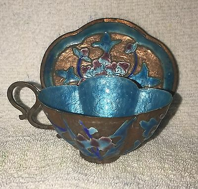 Antique Chinese Export Copper Enamel Cup And Saucer