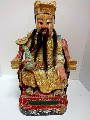 Antique Chinese Wood Temple Figure Very Heavy Age Unknown