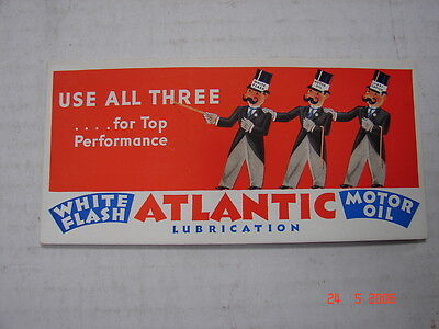 1930's ATLANTIC White Flash - Lubrication - Motor Oil - USE ALL THREE - Ink Blot
