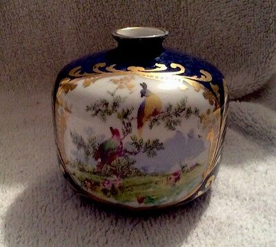 Vintage George Jones Crescent China Small Posy Vase With Tropical Bird Design