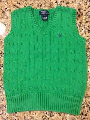 polo ralph lauren boys size 5 Green Vest Excellent Preowned Condition