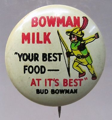 BOWMAN MILK dairy full color advertising small tin litho pinback button  *
