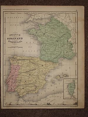 1866 SPAIN FRANCE PORTUGAL ANTIQUE MAP McNally Atlas CIVIL WAR Era ORIGINAL!