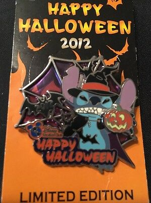 Disneyland Disney Happy Halloween 2012 Stitch Pumpkin Limited Edition Pin