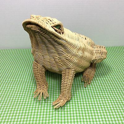 VINTAGE 1960's SITTING WICKER FROG PLANTER DECOR WITH MARBLE EYES BULLFROG
