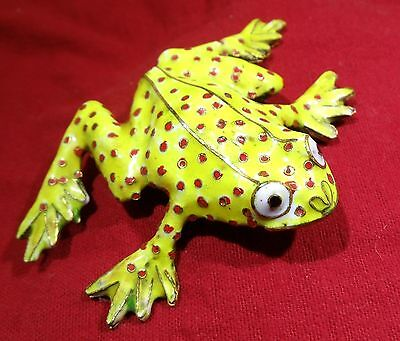 Cloisonne Green With Red Spots Enamel /  Brass Frog Figurine Statue