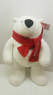 "NWT New 2013 Coca Cola Stuffed Plush Polar Bear 21"" Animal"