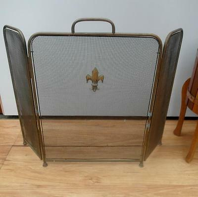 Vintage ANTIQUE Brass SPARK Guard FIRE Screen FOLDING QZZQ Adelaide